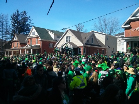 Students party for St. Patrick's Day on Ezra in Waterloo, 3/17/2014 (Android photo)