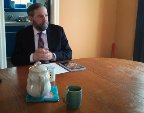 NDP leader Thomas Mulcair visits Kitchener home, 03/18/2014 (Android photo)